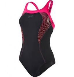 Speedo Fit Kickback Swimsuit Black/Pink