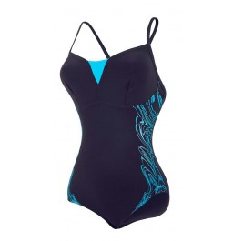 Speedo Women's Sculpture Shinedream Placement Swimsuit Navy/Blue