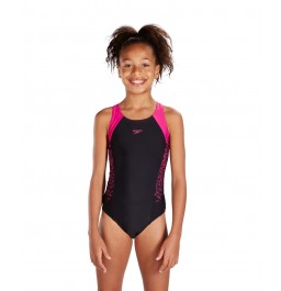 Speedo Boom Splice Muscleback Girls Swimsuit Black/Pink