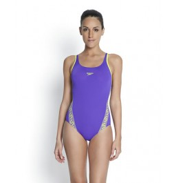 Speedo Women's Monogram Muscleback Swimsuit Purple/Green