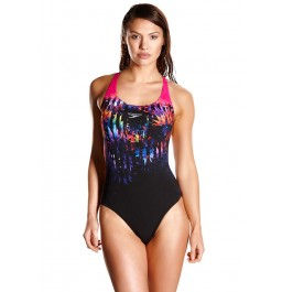 Speedo Solar Fizz Powerback Swimsuit Black/Pink