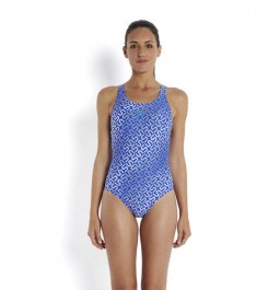 Speedo Women's Allover Monogram Muscleback Swimsuit - Blue/White
