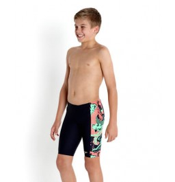Speedo Boys' Allover Panel Jammer Navy/Orange