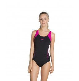 Speedo  Boom Splice Racerback Swimsuit Black/Pink