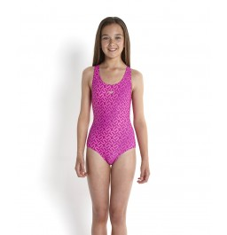 Speedo Girls' Monogram Allover Splashback Swimsuit - Purple/Pink