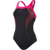 Speedo Fit Kickback Swimsuit Black/Pink