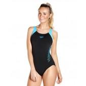 Speedo Boom Splice Muscleback Swimsuit Black/Blue