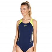 Speedo Boom Splice Muscleback Swimsuit Navy/Green