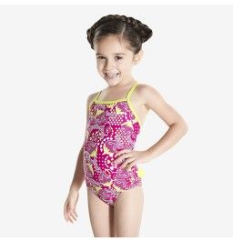Speedo Frill Swimsuit - Pink/Navy