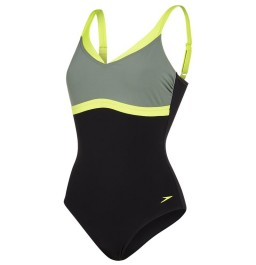 Speedo Sculpture AquaJewel Swimsuit Black/Green