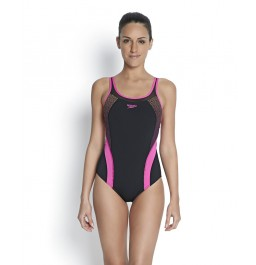 Speedo Women's Fit Body Positioning Kickback Swimsuit Black/Pink