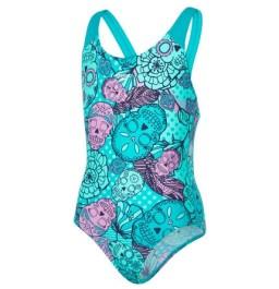Speedo Girl's Tribe Idol Allover Splashback Swimsuit - Green/Green