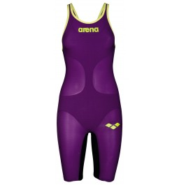 Arena  Carbon Air Full Body Short Leg Open Back Kneeskin - Plum/Fluo Yellow