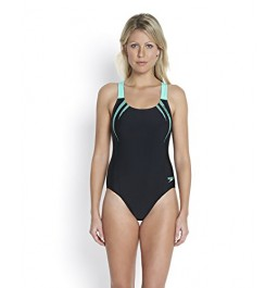 Speedo Women's Sports Logo Medalist Swimsuit Black/Green