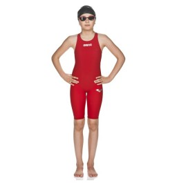 Arena Girls' Powerskin ST Full Body Short Leg Open Back - Red