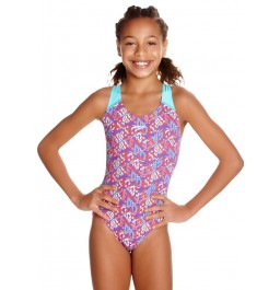 Speedo Pop Science Splashback Swimsuit - Green/Purple