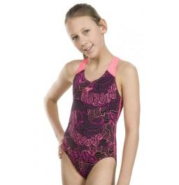 Speedo Allover Splashback Swimsuit - Black/Pink