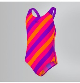 Speedo Allover Splashback Swimsuit - Purple/Pink