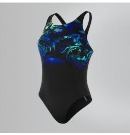 Speedo SwirlyAqua Placement Recordbreaker Swimsuit