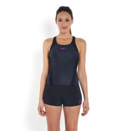 Speedo Monogram Allover Tankini Black/Grey