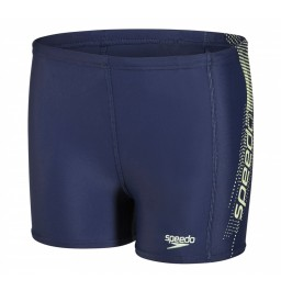 Speedo Boys Sports Logo panel Aquashort - Navy/Yellow
