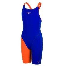 Speedo Junior Fastskin Endurance+ Openback Kneeskin - Blue/Orange