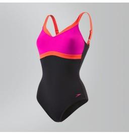 Speedo Sculpture AquaJewel Swimsuit - Black/Pink