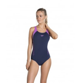 Speedo Boom Splice Muscleback Swimsuit Navy/Purple