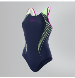 Speedo Fit Laneback Swimsuit - Navy/Green