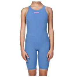 Arena Women's Powerskin R-EVO ONE Full Body Short Leg Open Back Blue Powder Pink