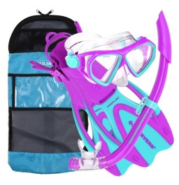 Aqua Lung Junior Dorado Mask, Snorkel, Fin Purple