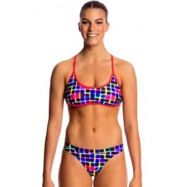 Funkita Womens Inked Tie Down Bikini two piece