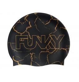 Funky Cracked Gold Silicone Swim Cap