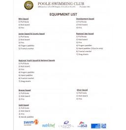 Poole Swimming Club Kit List