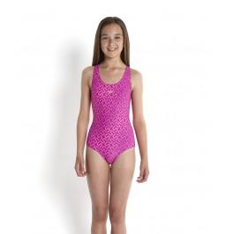 Speedo Girls' Monogram Allover Splashback Swimsuit - Purple/Pink
