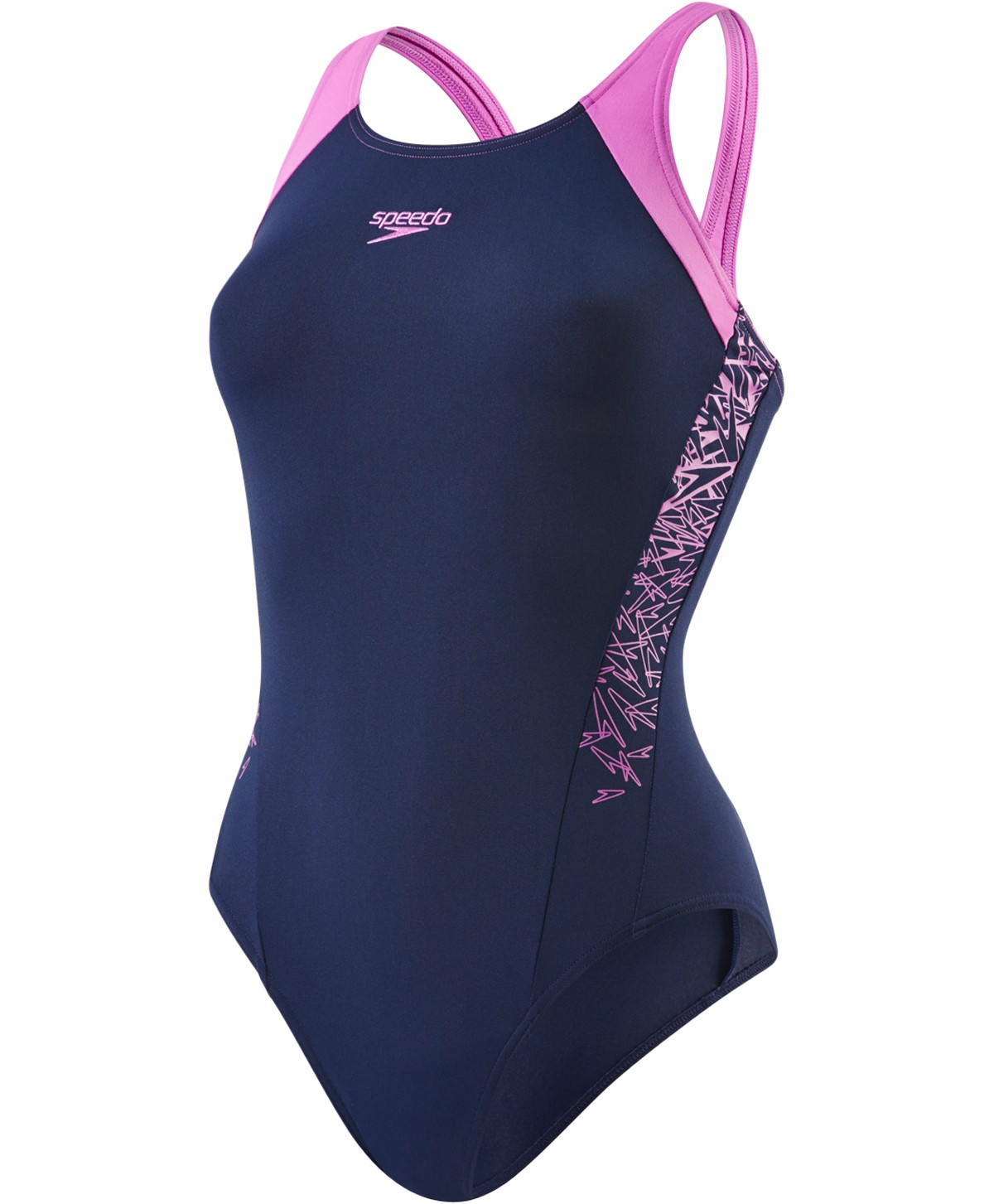 Speedo Boom Splice Muscleback Swimsuit Navy Purple