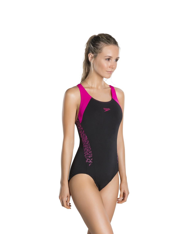 Speedo Boom Splice Racerback Swimsuit Black Pink