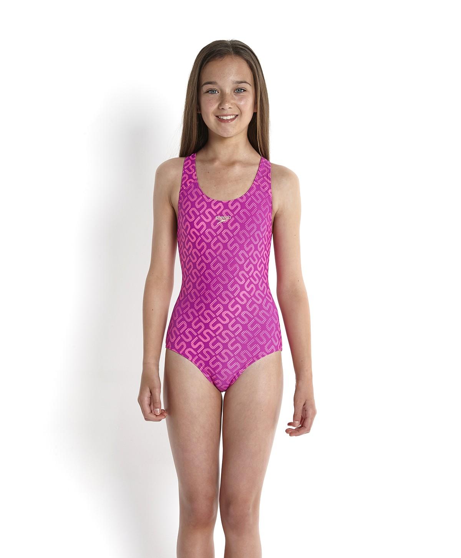 Speedo Girls Monogram Allover Splashback Swimsuit Purplepink