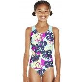 Speedo Allover Splashback Swimsuit - Navy/Green