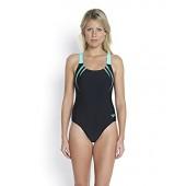 Speedo Women's Sports Logo Medalist Swimsuit Black/Green