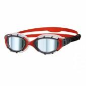Zoggs Predator Flex Titanium Goggles Gunmetal/Clear & Red