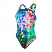 Speedo FlareFlash Placement Digital Powerback Swimsuit - Black/Blue