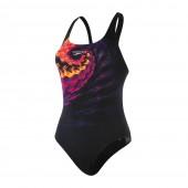 Speedo SwirlyWave Placement Powerback Swimsuit - Black/Red