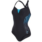 Speedo Women's Sculpture Shinedream Placement Swimsuit Black/Green