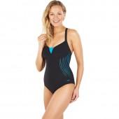 Speedo Women's Sculpture Shinedream Placement Swimsuit Black/Blue