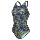 Speedo Boom Allover Muscleback Swimsuit - Navy/Green