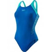 Speedo Boom Splice Muscleback Swimsuit - Blue/Green