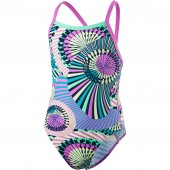 Speedo Girls' Ethno Funk Allover Thinstrap Crossback Swimsuit