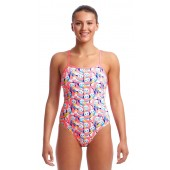 Funkita Womens Eco Single Strap One Piece Pink Panda