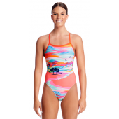 Funkita Womens Red Centre Tie Me Tight One Piece